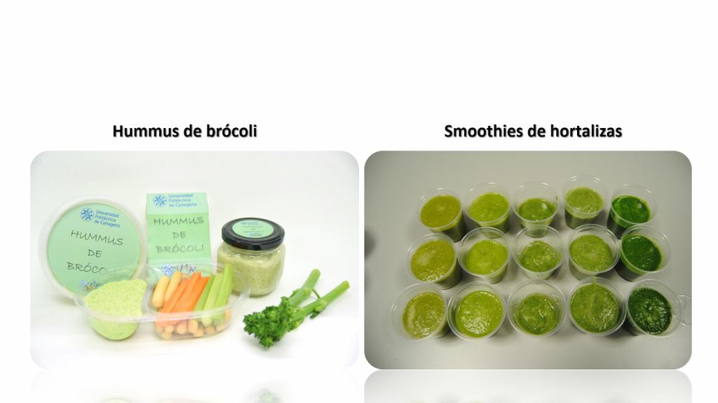 Hummus de brócoli y smoothies de hortalizas